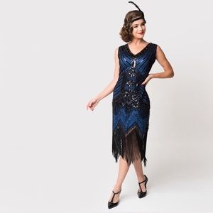 Unique Vintage Fringed Beaded Flapper Dress in Royal Blue and Black, Small